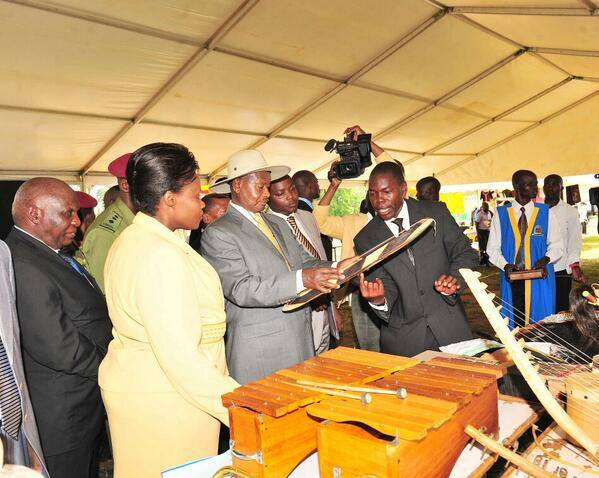 Picture: President Kaguta Museveni and then Minister of Education Jessica Alupo at the Students Loan scheme launch