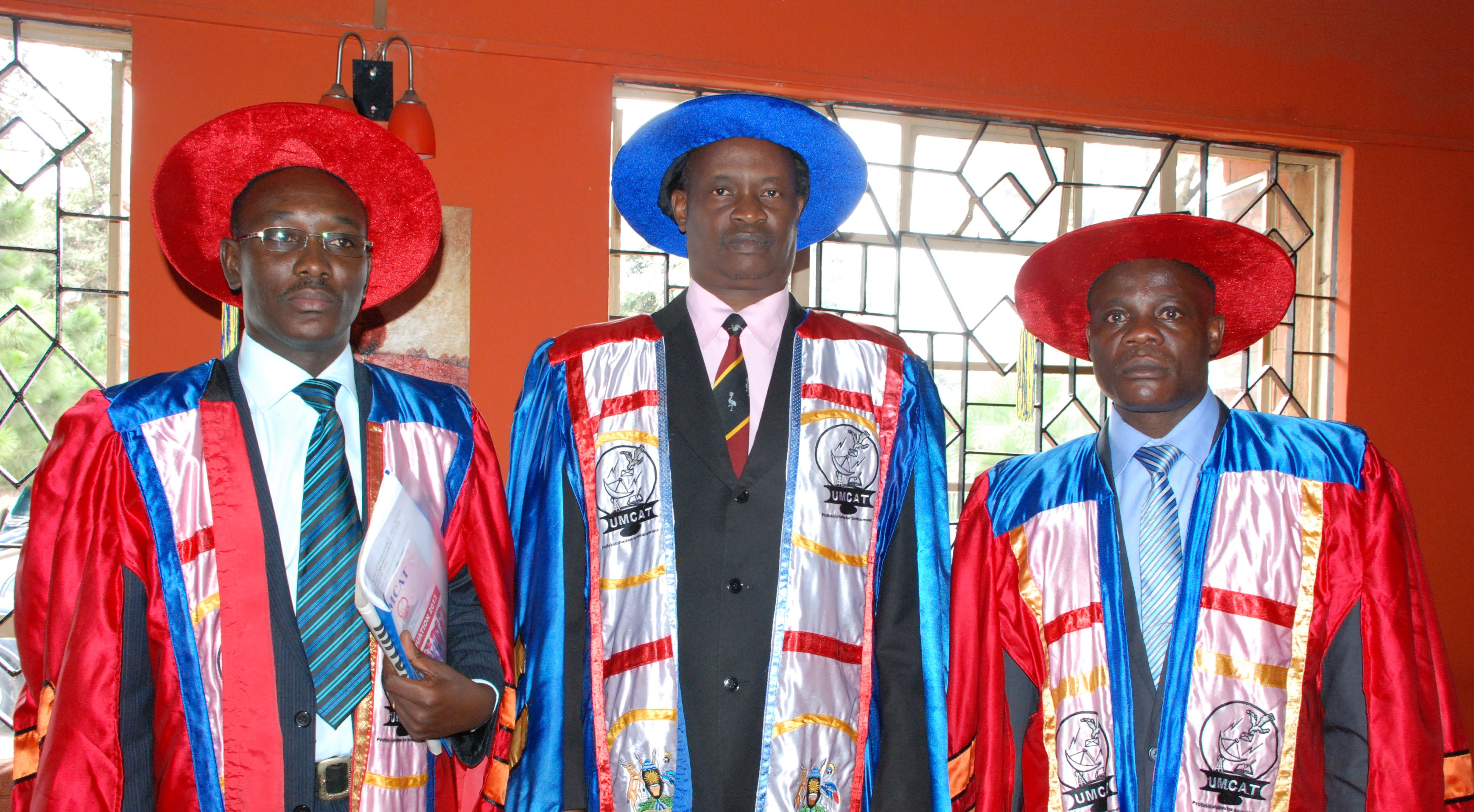 Left - Right:Mr.Ogwel Charles(Director UMCAT),Mr.Mayende Simon (Director Information and National Guidance) and Mr.Onyango Godfrey(Principal UMCAT) during the 9th Graduation Ceremony.