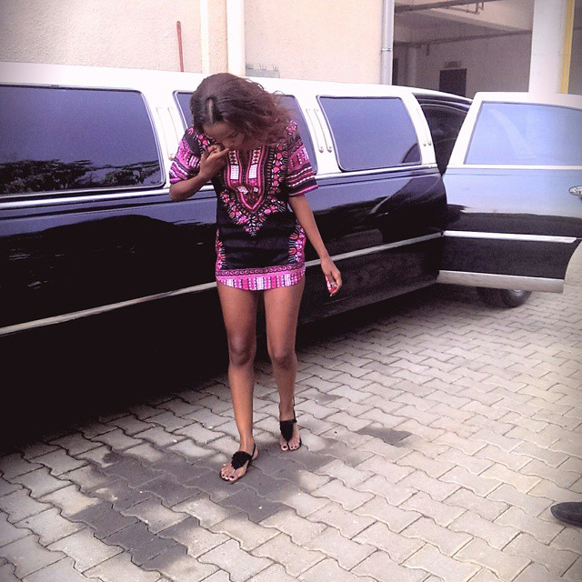 Sheilla with the Limo that later transported her to O's Bar, Entebbe