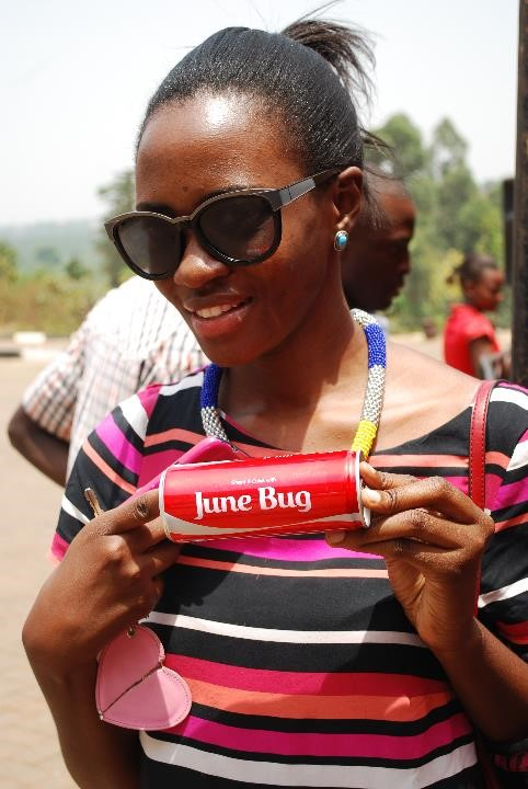 A Coca-Cola lover displays her personalized Coke can on Valentine's Day