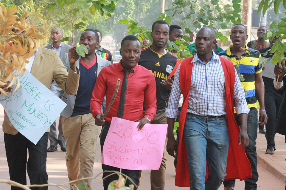 Group of students led by their Guild president, Bala David. Photo: Badru Katumba