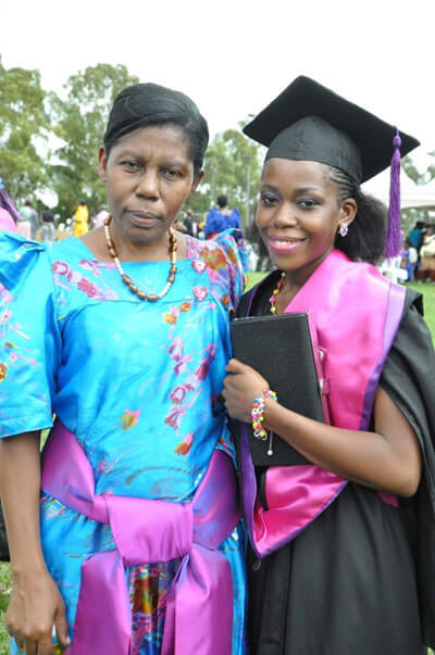 Best student Ruth Kaghala Mukova and her mother