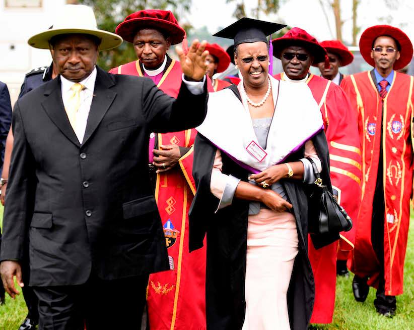 President Museveni with Hon. Janet Museveni arrive at Uganda Christian University Mukono, where Hon Janet Museveni is set to be awarded a Master of Arts degree in Organisational leadership & Management | State House Photo