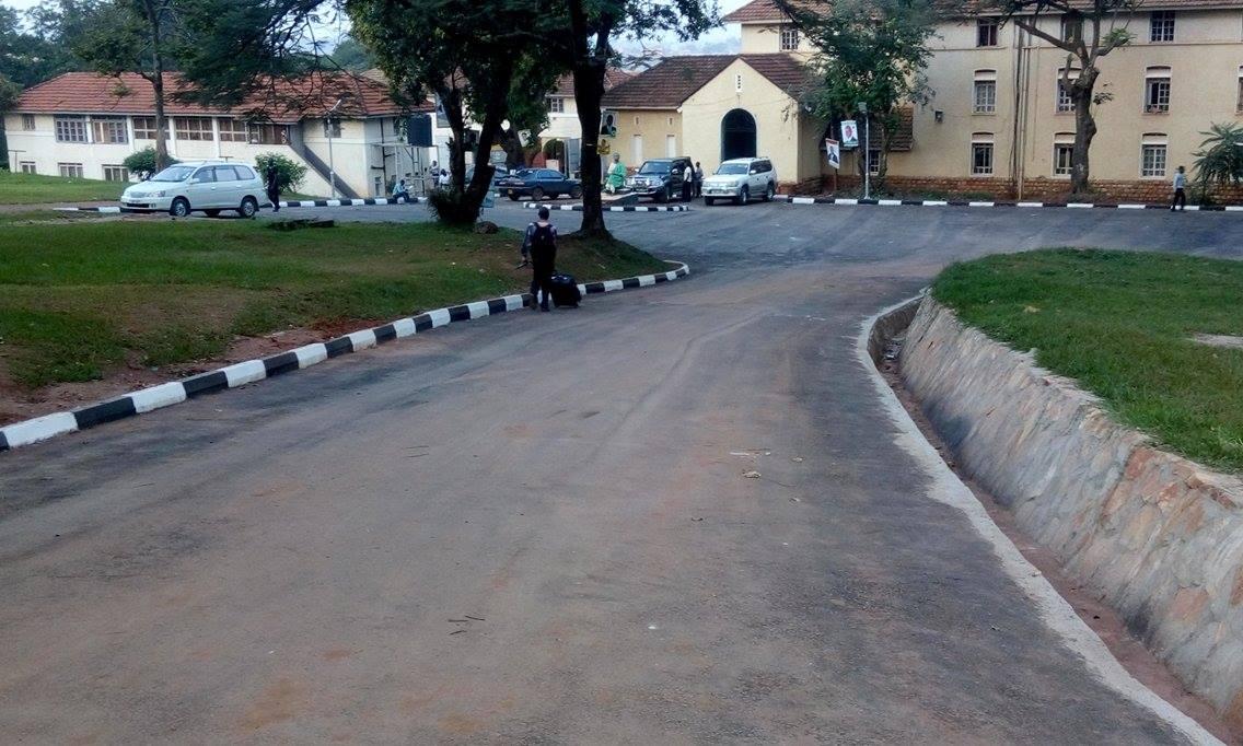 The newly tarmacked Nkrumah Hall parking lot.