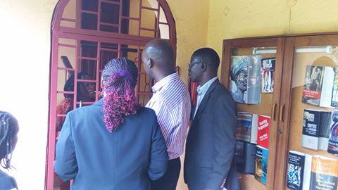 Prof Nyanzi's office being opened by Prof Edward Kirumira.