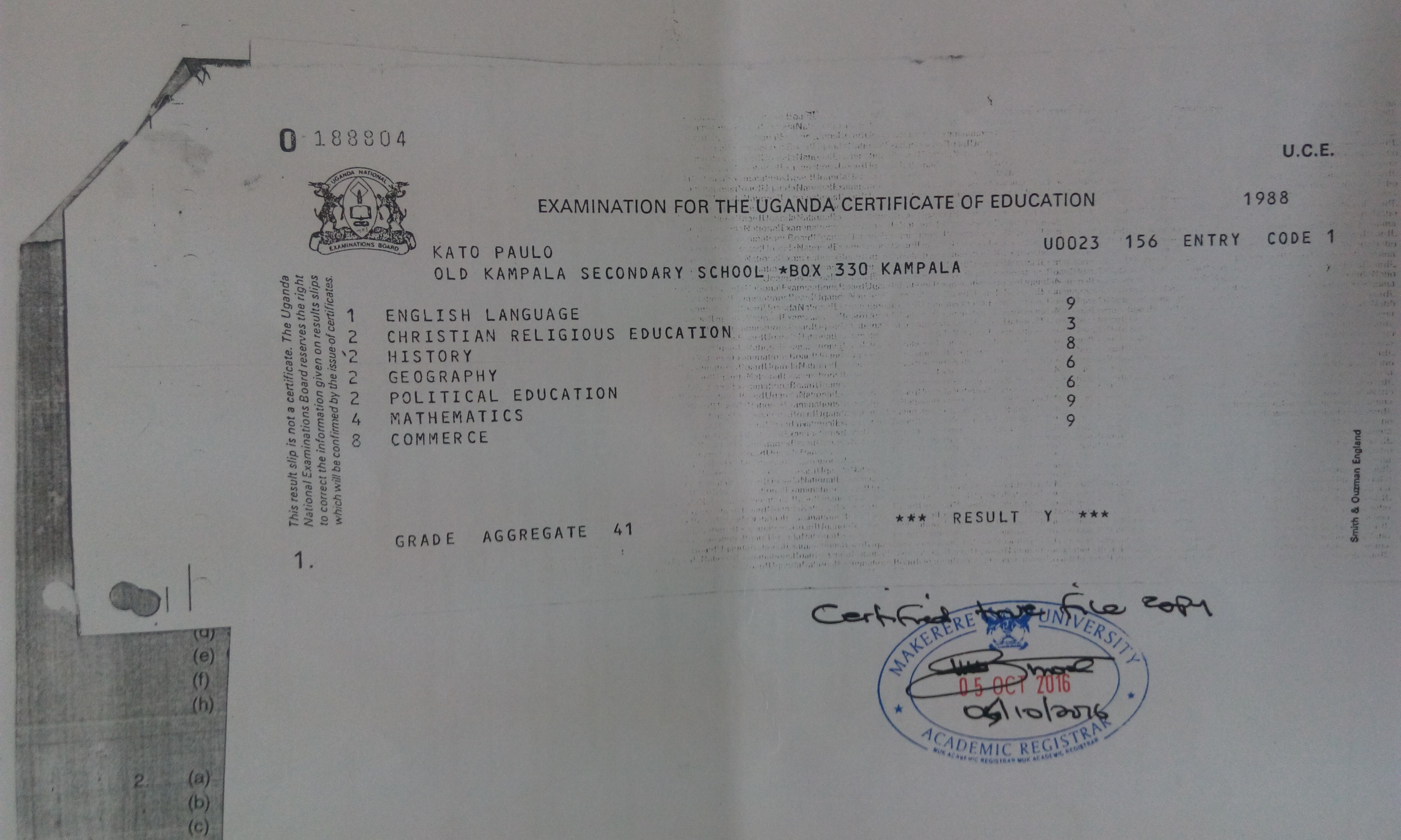 The UCE Certificate Which Kato Lubwama Used to Apply For a Diploma at MAK