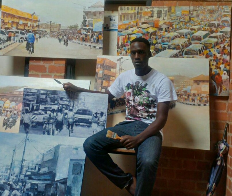 Francis Ainembabazi with some of his art