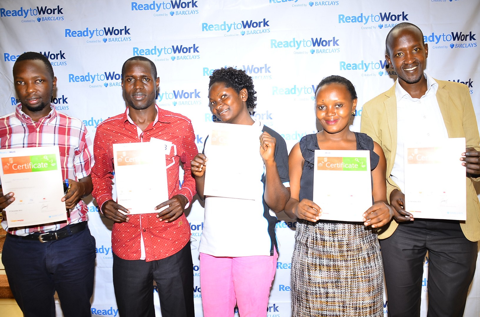 (L-R) Kwikiriza Benson, Erone Ronali, Ahirirwe Olivah, Atuhaire Rahab and Akantambira Kenneth show off their certificates that they received upon completion of the ReadytoWork face-to-face free training that commenced on December 5, 2016 at the Hub, Oasis Mall. The training is still ongoing till December 16, 2016