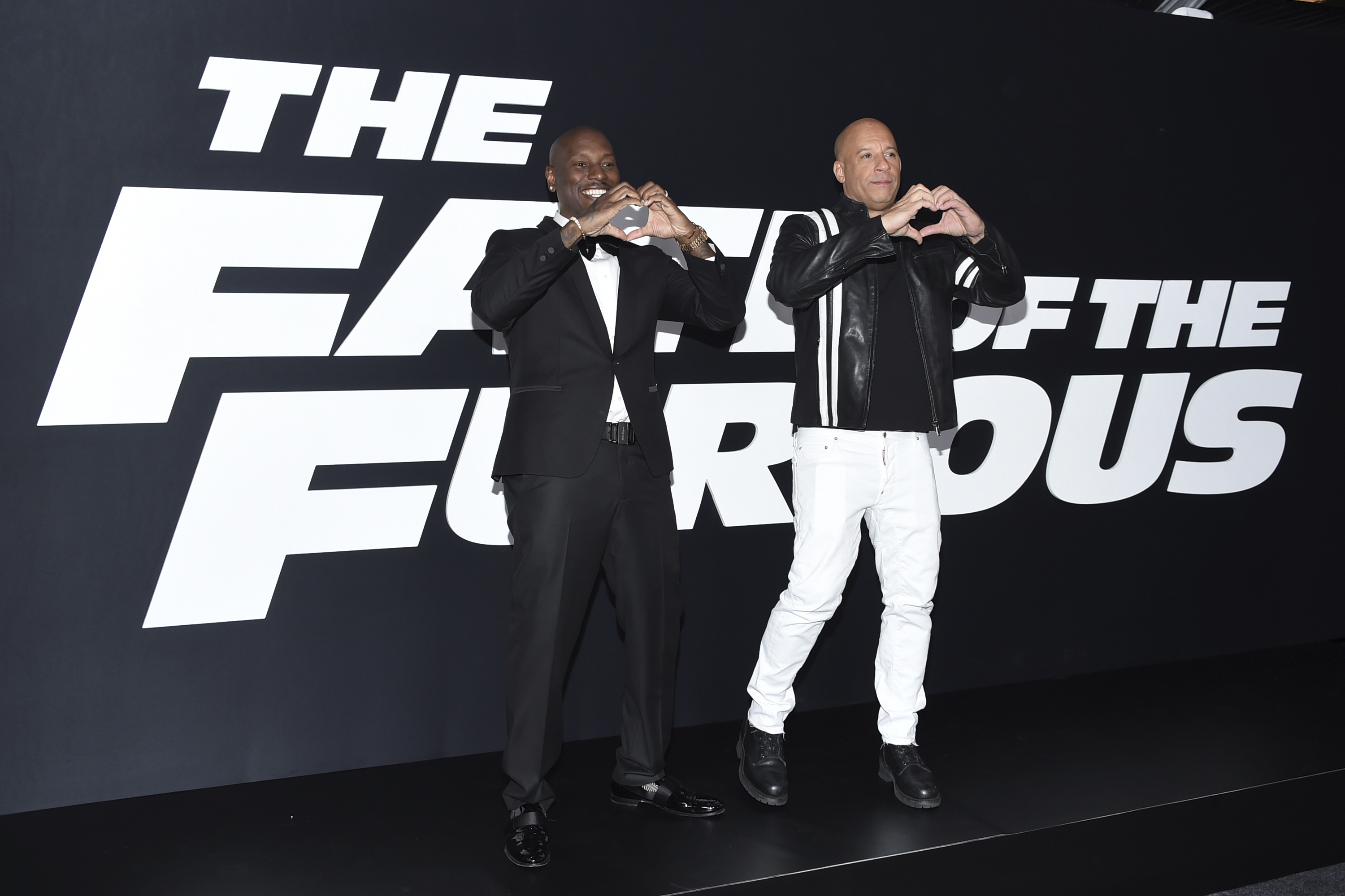 """Tyrese Gibson, left, and Vin Diesel attend the world premiere of Universal Pictures' """"The Fate of the Furious"""" at Radio City Music Hall on Saturday, April 8, 2017, in New York. (Photo by Evan Agostini/Invision/AP)"""