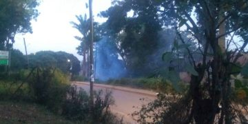 The teargas brought the rally at Marystuart today to a premature end.