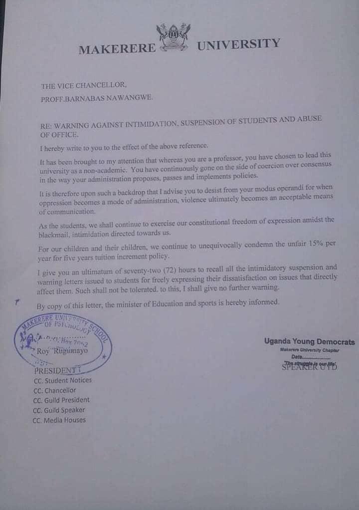 Rugamayo's Letter to Prof. Nawangwe