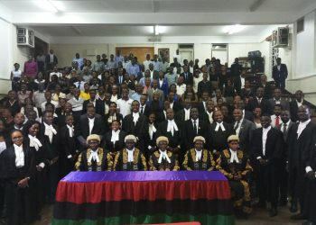 Students with Justices of the Court of Appeal at Makerere School of Law Lower Auditorium.