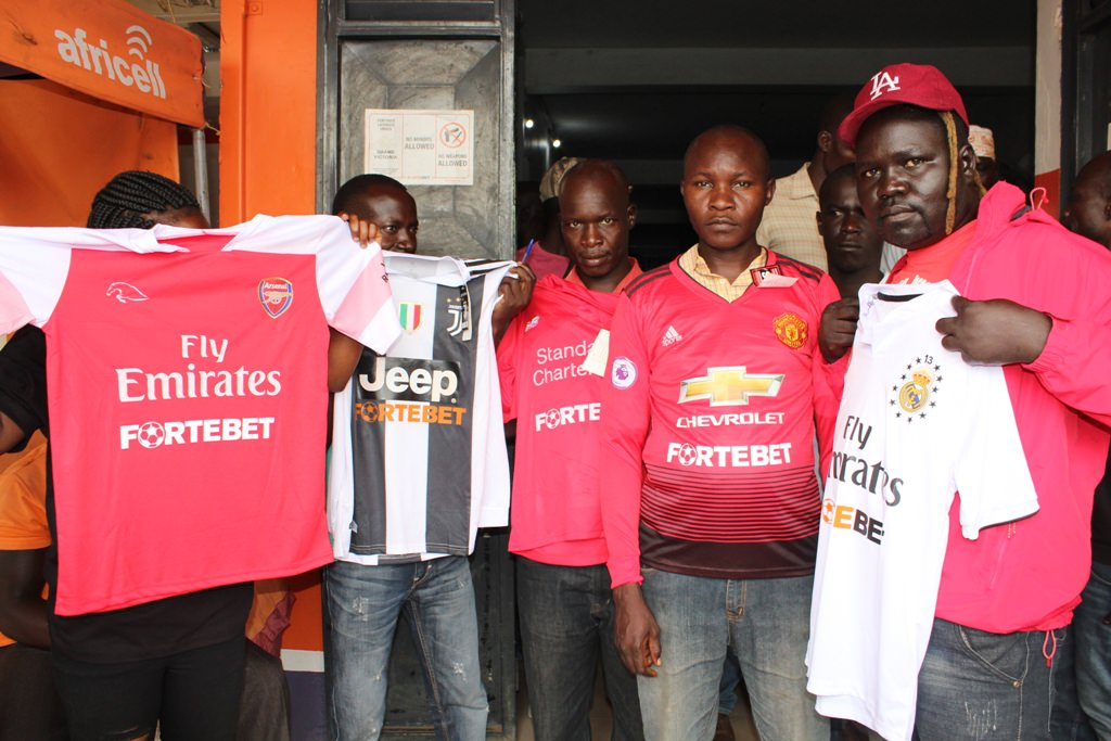 Some of the jersey winners at Arua main centre - Fortebet Showers Arua, Nebbi, Pakwach And Koboko With Gifts