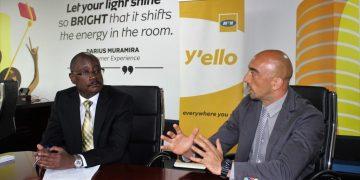 (Right) CoRSU Hospital CEO Dr. Davide Naggi explains a point to acting MTN Uganda CEO Mr. Gordian Kyomukama during the partnership meeting