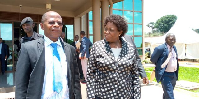 Minister for Higher Education Muyingo and NCHE ED Prof Okwakol