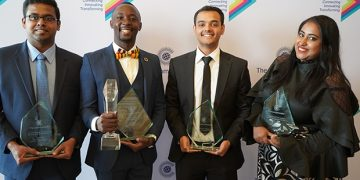 Makerere Alumni, Brian Kakembo (Center Left) with other winners at the ceremony